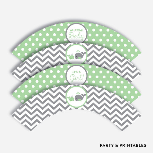 Whale Cupcake Wrappers / Non-Personalized / Instant Download (SBS.56)