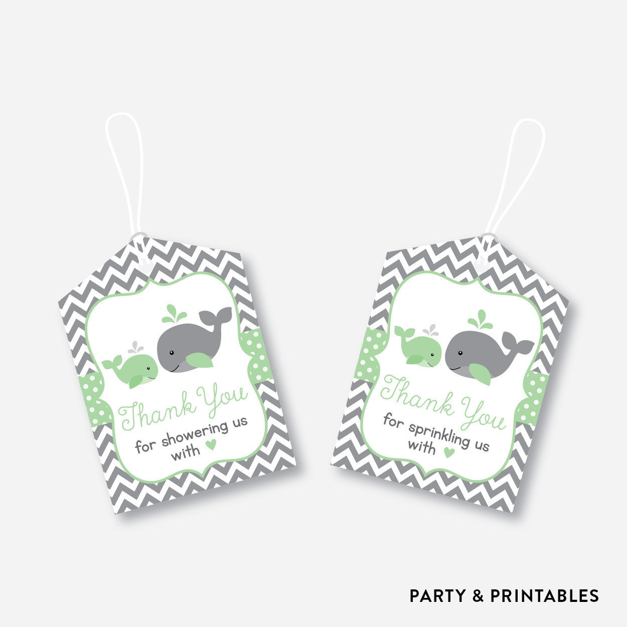 Whale Favor Tags / Non-Personalized / Instant Download (SBS.56), party printables - Party and Printables
