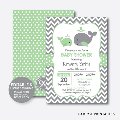 Whale Baby Shower Invitation / Editable / Instant Download (SBS.56)
