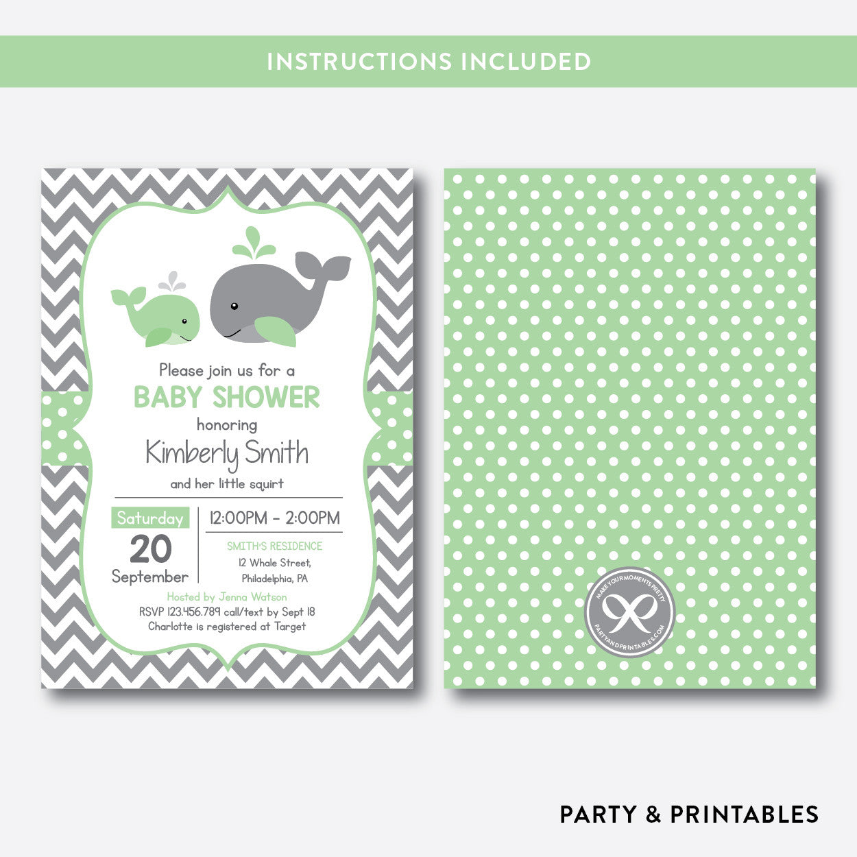 Whale Baby Shower Invitation / Editable / Instant Download (SBS.56), invitation - Party and Printables