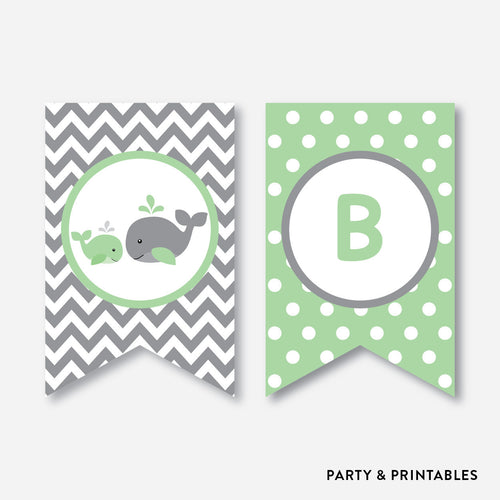 Whale Party Banner / Baby Shower Banner / Non-Personalized / Instant Download (SBS.56)