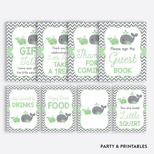 Whale Party Signs / Non-Personalized / Instant Download (SBS.56)