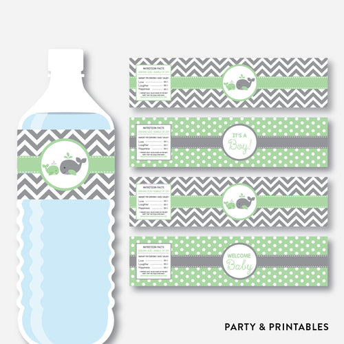 Whale Water Bottle Labels / Non-Personalized / Instant Download (SBS.56)