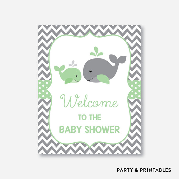 Whale Welcome Sign / Non-Personalized / Instant Download (SBS.56), party printables - Party and Printables