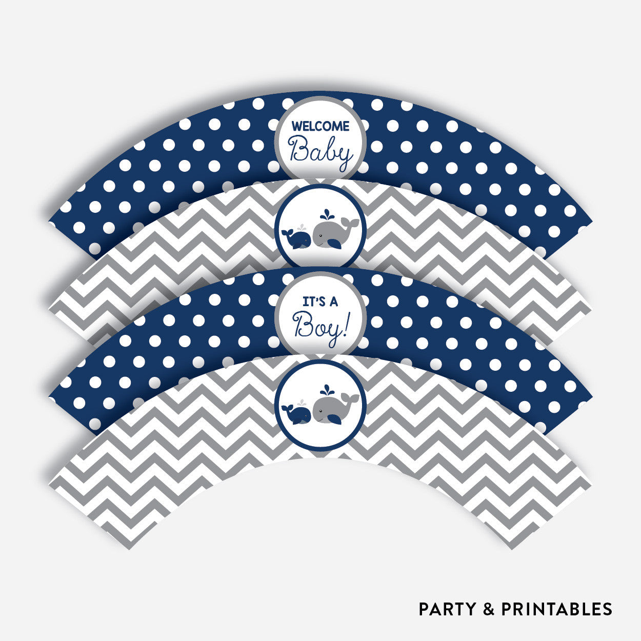 Whale Cupcake Wrappers / Non-Personalized / Instant Download (SBS.57), party printables - Party and Printables