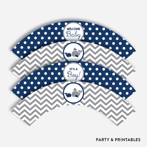 Whale Cupcake Wrappers / Non-Personalized / Instant Download (SBS.57)