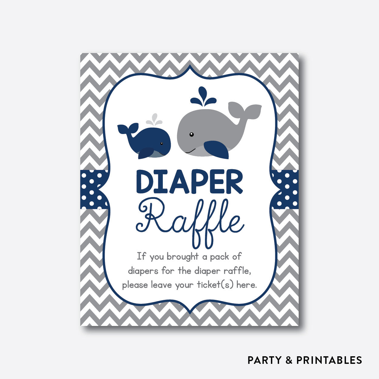 Whale Diaper Raffle / Non-Personalized / Instant Download (SBS.57), party printables - Party and Printables