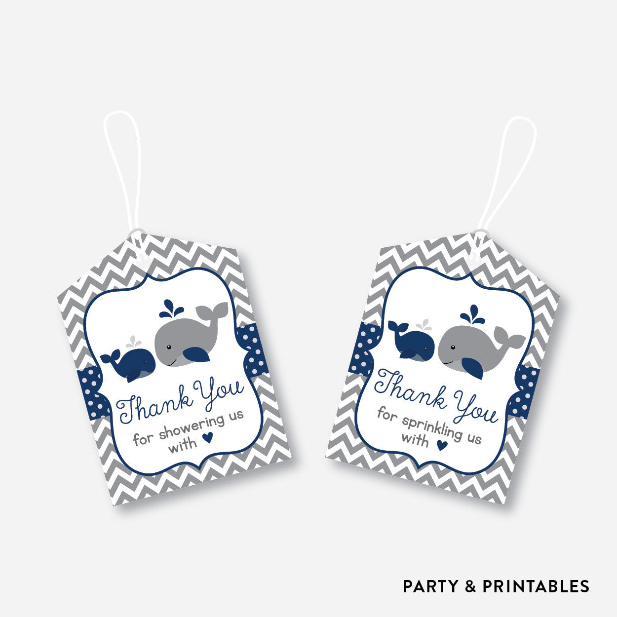 Whale Favor Tags / Non-Personalized / Instant Download (SBS.57), party printables - Party and Printables