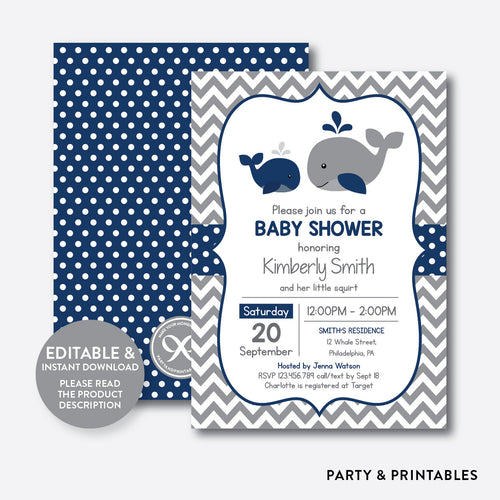 Whale Baby Shower Invitation / Editable / Instant Download (SBS.57)