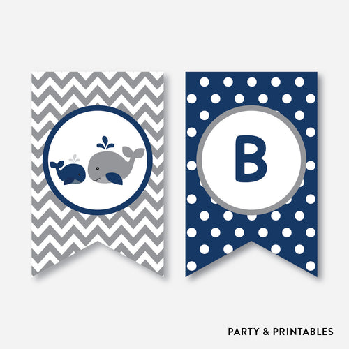 Whale Party Banner / Baby Shower Banner / Non-Personalized / Instant Download (SBS.57)
