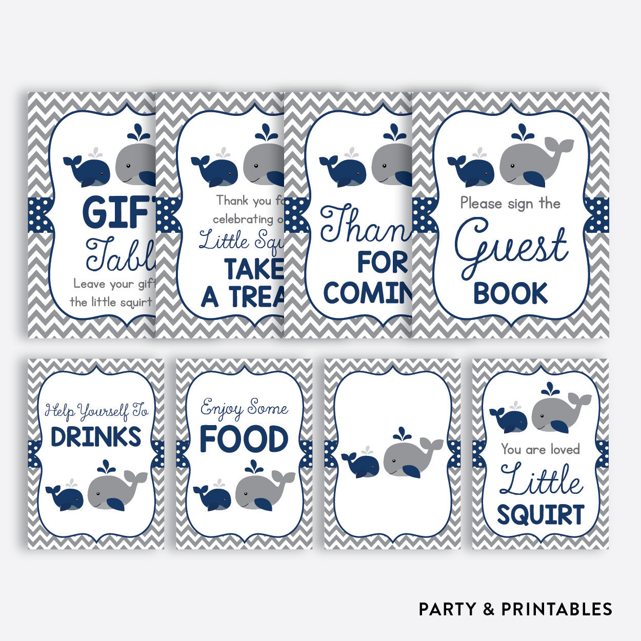 Whale Party Signs / Non-Personalized / Instant Download (SBS.57), party printables - Party and Printables