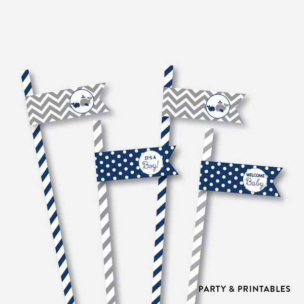 Whale Straw Flags / Non-Personalized / Instant Download (SBS.57), party printables - Party and Printables