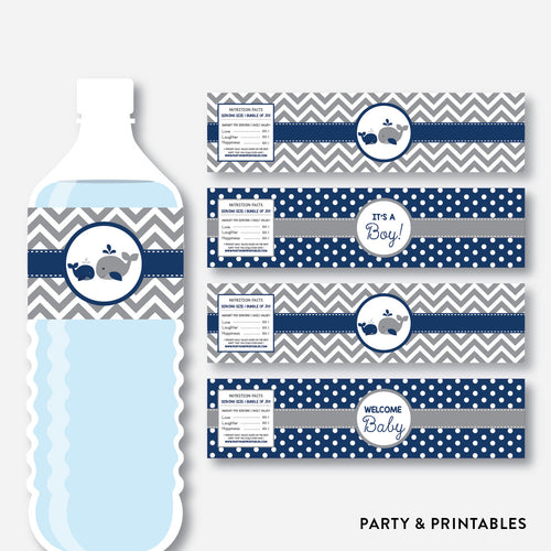 Whale Water Bottle Labels / Non-Personalized / Instant Download (SBS.57)