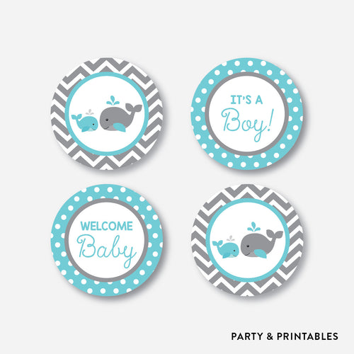 Whale Cupcake Toppers / Non-Personalized / Instant Download (SBS.58)