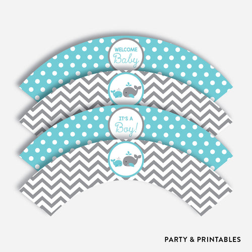 Whale Cupcake Wrappers / Non-Personalized / Instant Download (SBS.58)