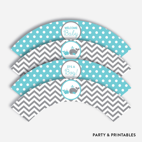 Whale Cupcake Wrappers / Non-Personalized / Instant Download (SBS.58), party printables - Party and Printables