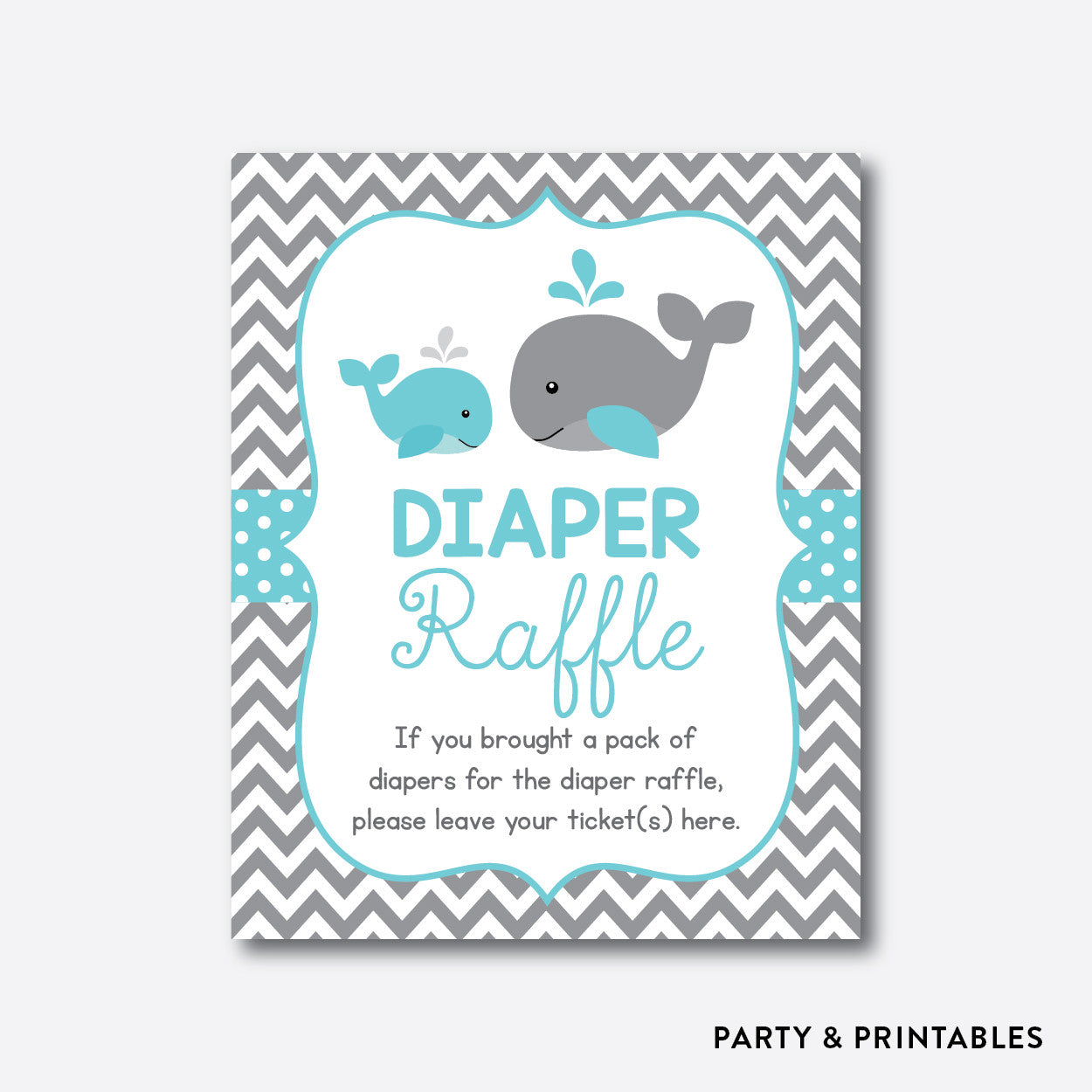 Whale Diaper Raffle / Non-Personalized / Instant Download (SBS.58), party printables - Party and Printables