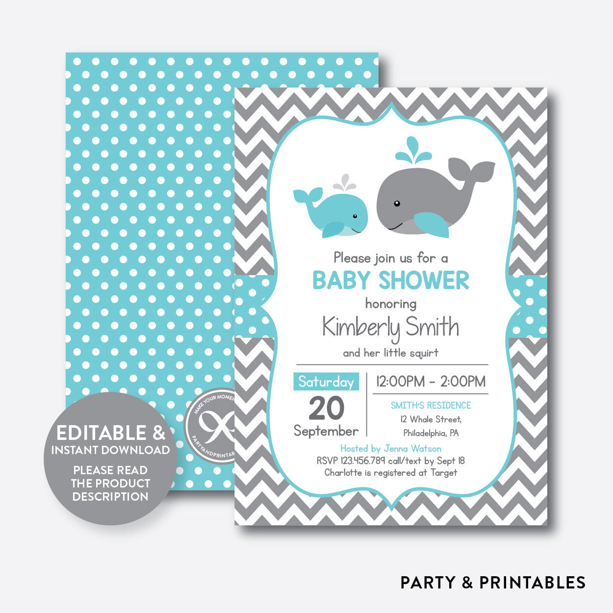 Whale Baby Shower Invitation Editable Instant Download Sbs 58