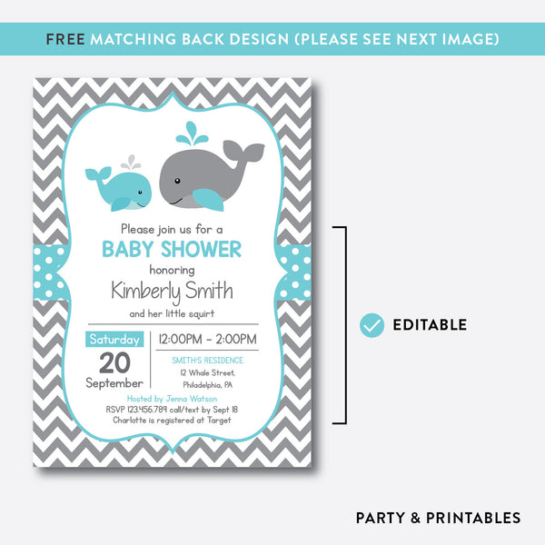 Whale Baby Shower Invitation / Editable / Instant Download (SBS.58), invitation - Party and Printables
