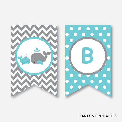 Whale Party Banner / Baby Shower Banner / Non-Personalized / Instant Download (SBS.58)