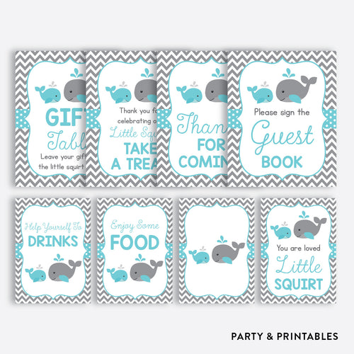 Whale Party Signs / Non-Personalized / Instant Download (SBS.58)