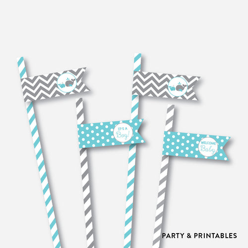 Whale Straw Flags / Non-Personalized / Instant Download (SBS.58)