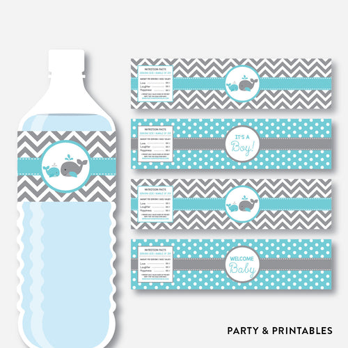 Whale Water Bottle Labels / Non-Personalized / Instant Download (SBS.58)