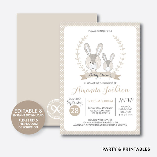 Rabbit Baby Shower Invitation / Editable / Instant Download (SBS.59)