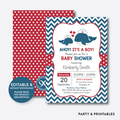 Nautical Whale Baby Shower Invitation / Editable / Instant Download (SBS.61)