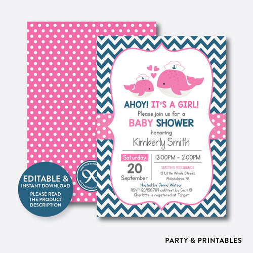 Nautical Whale Baby Shower Invitation / Editable / Instant Download (SBS.62)