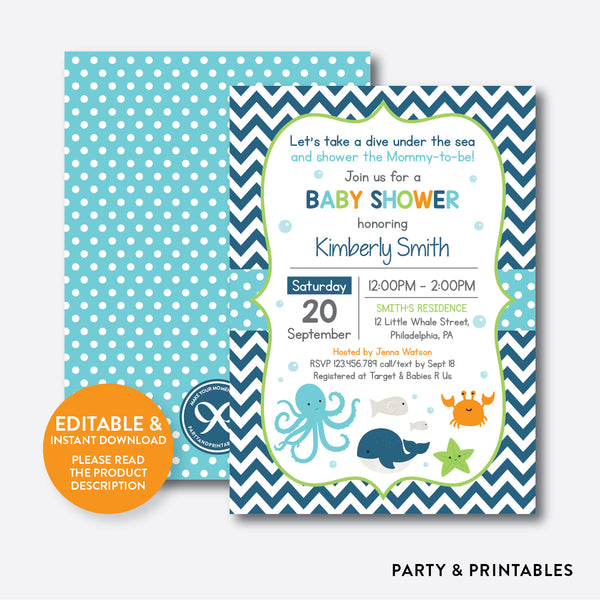 Under The Sea Baby Shower Invitation / Editable / Instant Download (SBS.65), invitation - Party and Printables
