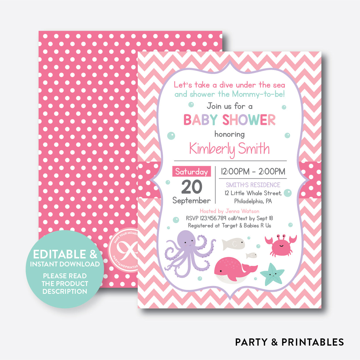 Under The Sea Baby Shower Invitation Editable Instant Download SBS66 700 USD 1000 How To Order Matching Printables Printing Service