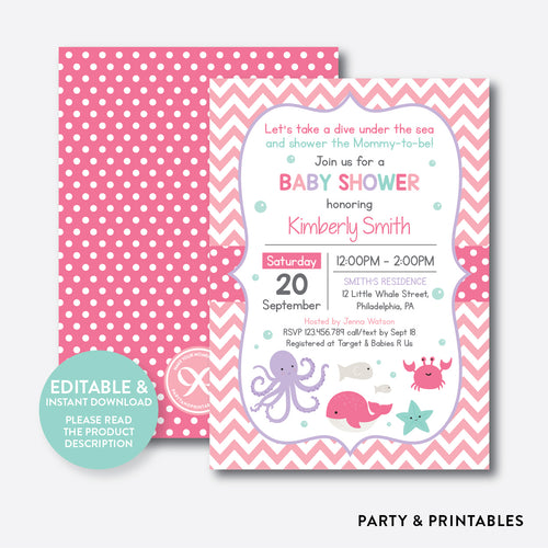 Under The Sea Baby Shower Invitation / Editable / Instant Download (SBS.66)