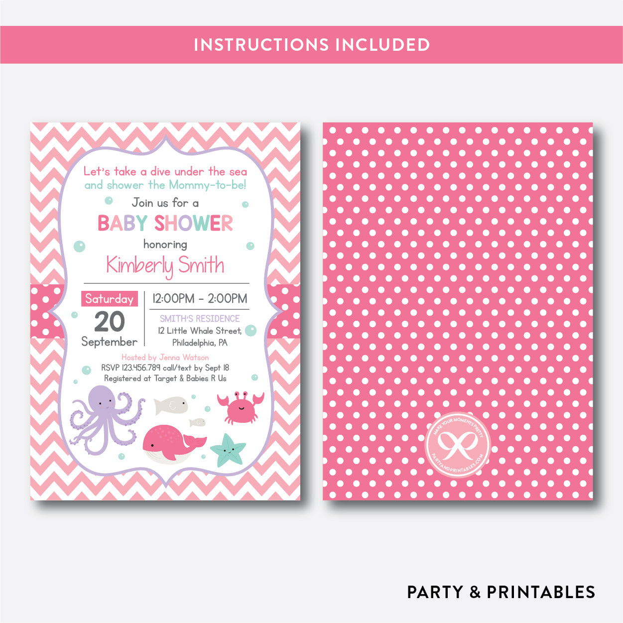 Under The Sea Baby Shower Invitation / Editable / Instant Download (SBS.66), invitation - Party and Printables