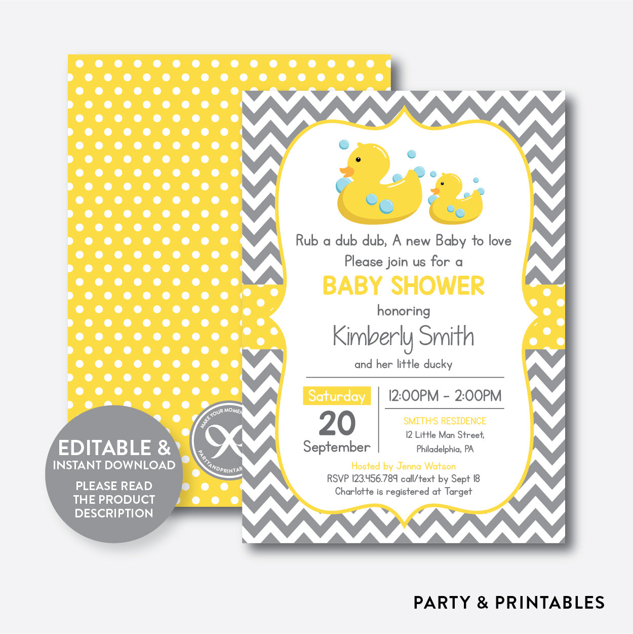 Duck Baby Shower Invitation / Editable / Instant Download (SBS.69), invitation - Party and Printables