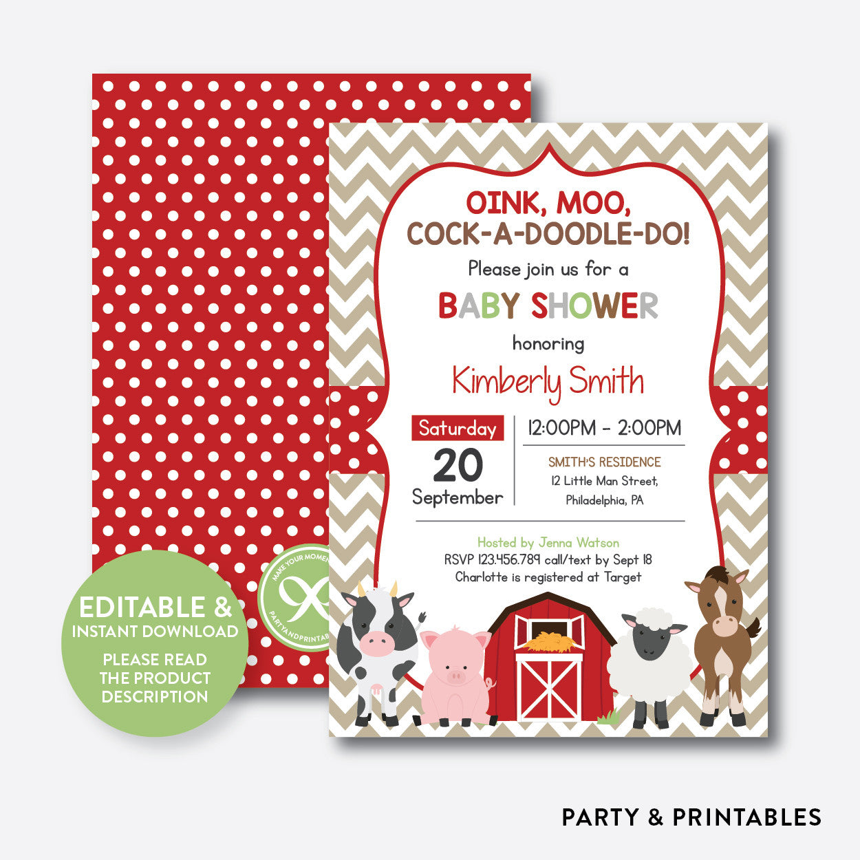 Farm Baby Shower Invitation Editable Instant Download Sbs70