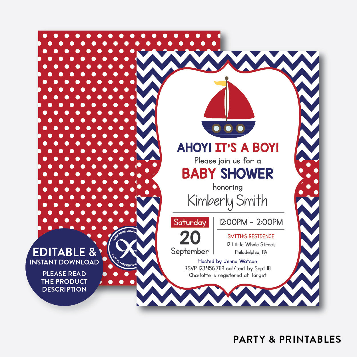 Nautical Sailboat Baby Shower Invitation Editable Instant Download SBS72