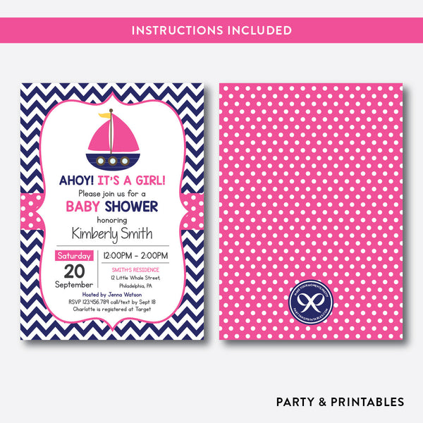 Nautical Sailboat Baby Shower Invitation / Editable / Instant Download (SBS.73), invitation - Party and Printables