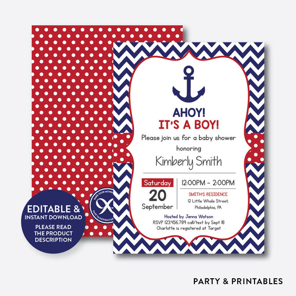 Anchor Baby Shower Invitation / Editable / Instant Download (SBS.74), invitation - Party and Printables