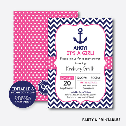 Anchor Baby Shower Invitation / Editable / Instant Download (SBS.75)