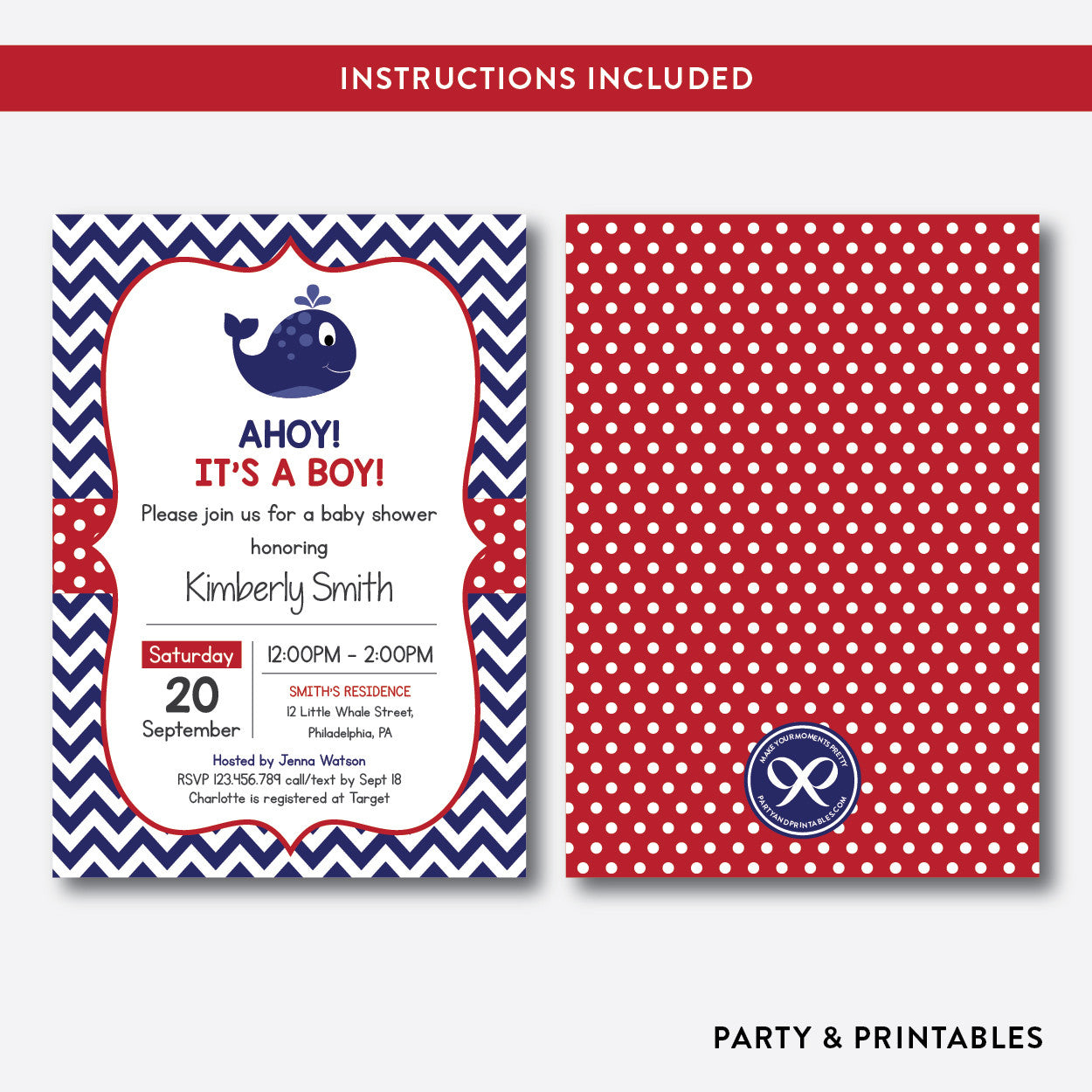 Whale Baby Shower Invitation / Editable / Instant Download (SBS.76), invitation - Party and Printables