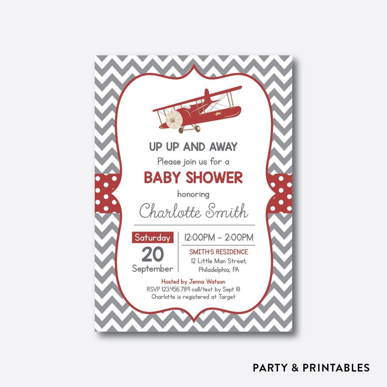 Vintage Airplane Red Baby Shower Invitation / Personalized (SBS.78), invitation - Party and Printables