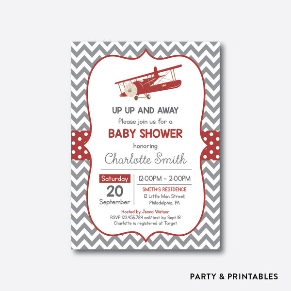 Vintage Airplane Red Baby Shower Invitation / Personalized (SBS.78)