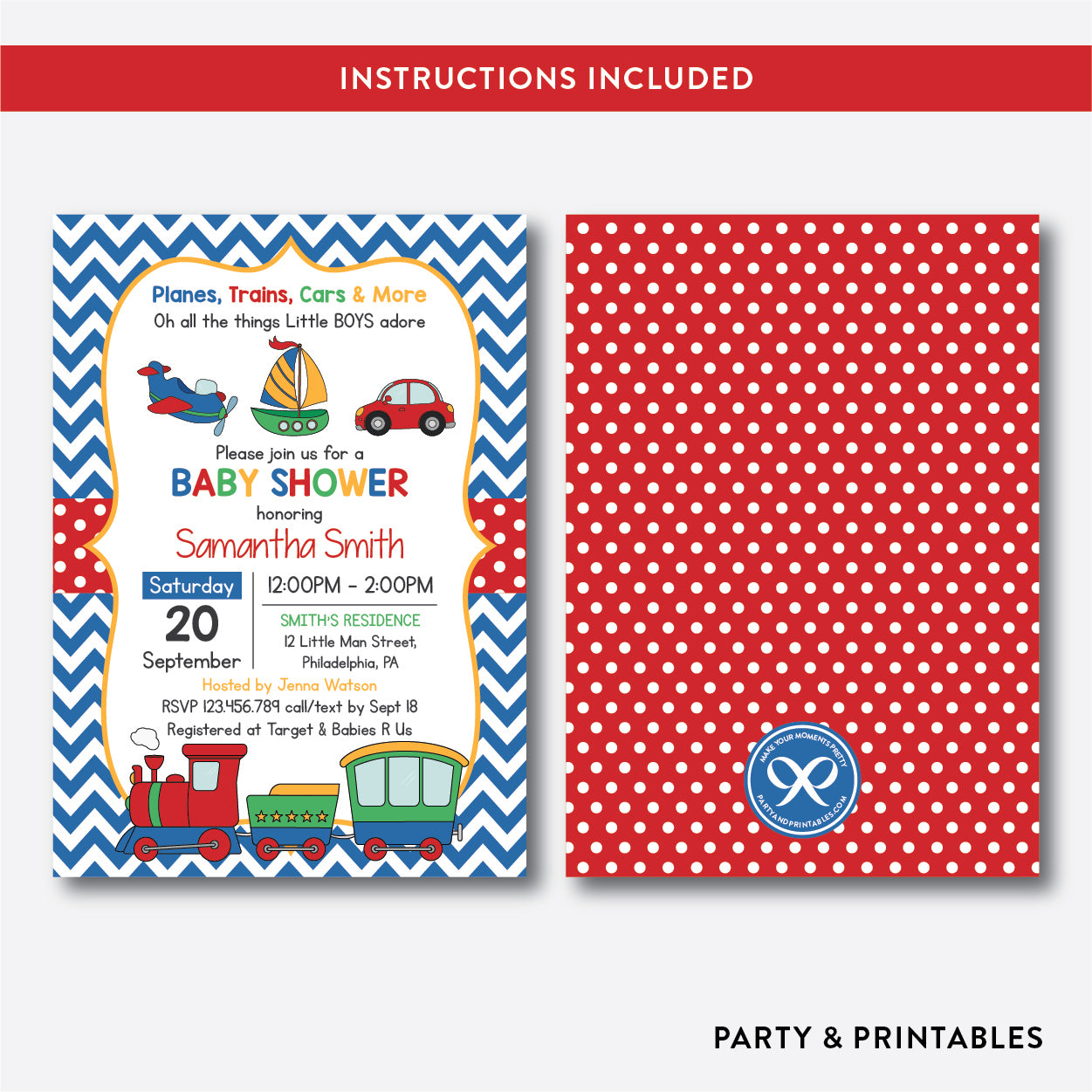 Transportation Baby Shower Invitation Editable Instant Download SBS84