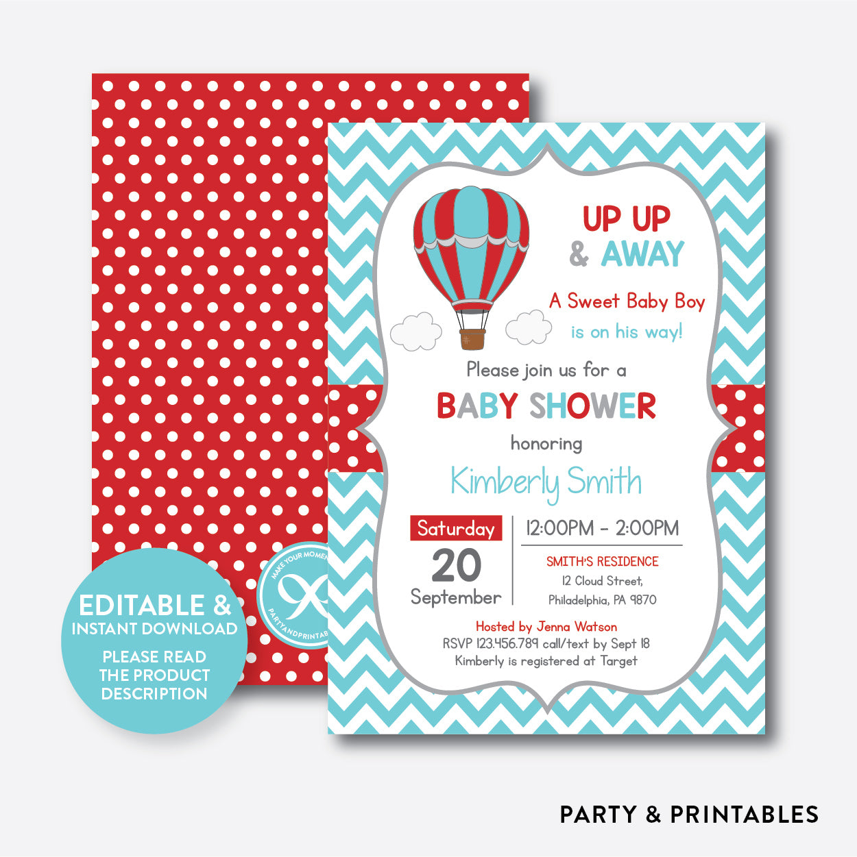 image about Printable Hot Air Balloon titled Incredibly hot Air Balloon Little one Shower Invitation / Editable / Quick Down load (SBS.85)