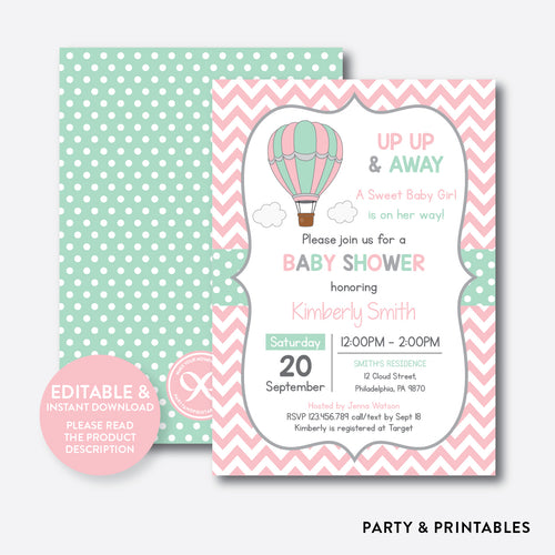 Hot Air Balloon Baby Shower Invitation / Editable / Instant Download (SBS.86)