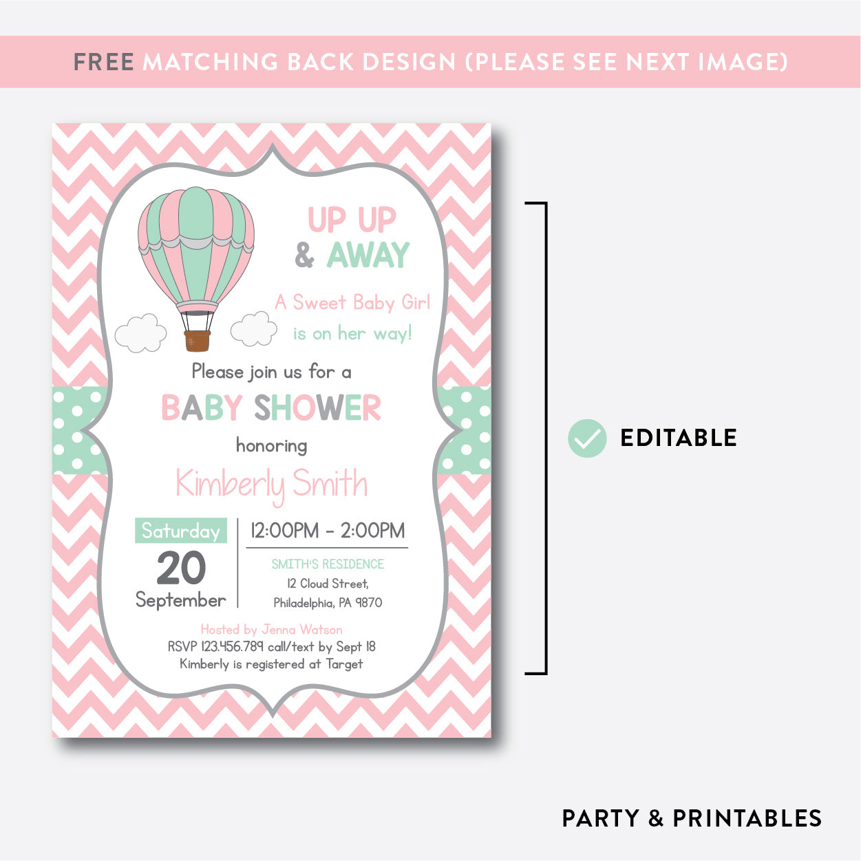 Hot Air Balloon Baby Shower Invitation / Editable / Instant Download (SBS.86), invitation - Party and Printables