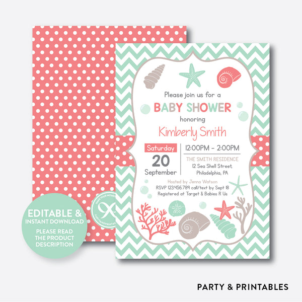 Seashells Baby Shower Invitation / Editable / Instant Download (SBS.87), invitation - Party and Printables