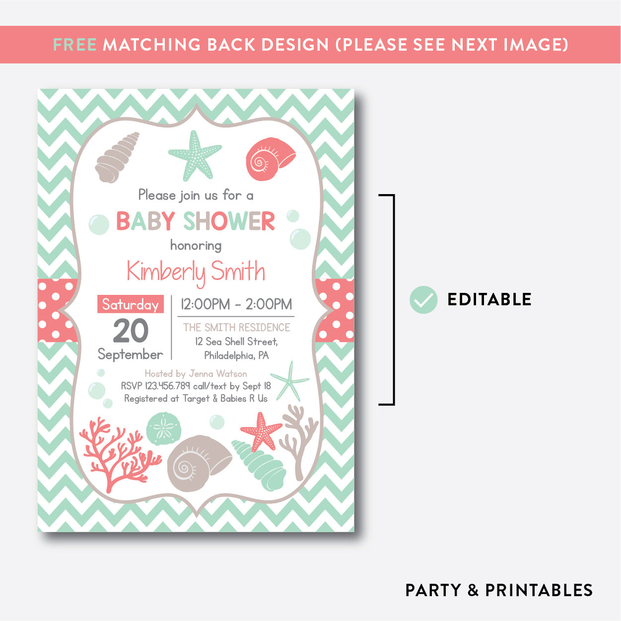 Seashells Baby Shower Invitation Editable Instant Download SBS87