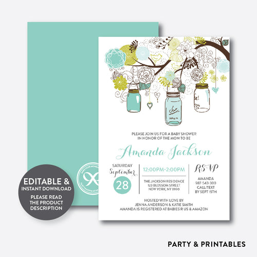 Floral Mason Jar Mint Baby Shower Invitation / Editable / Instant Download (SBS.88)
